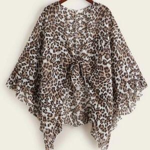 Plus Leopard Knot Front Asymmetrical Kimono